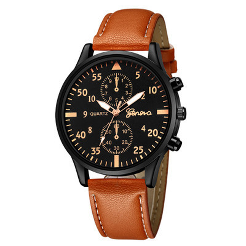Men's Wrist Watch Simple Style Business Fake Leather Belt Quartz Watch Brown belt rose gold