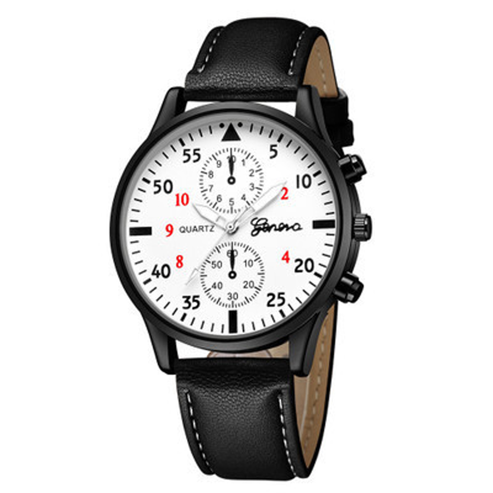 Men's Wrist Watch Simple Style Business Fake Leather Belt Quartz Watch Black band and white dial
