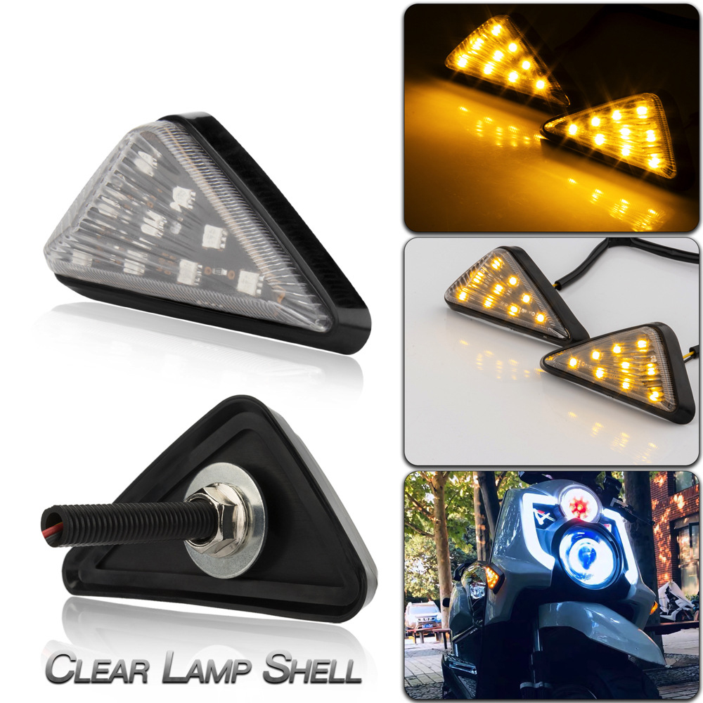 Led Motorcycle Turning Signals Light Smoke Triangle Flush Mount Waterproof Easy Installation Turn Signal Transparent lamp shell/yellow light
