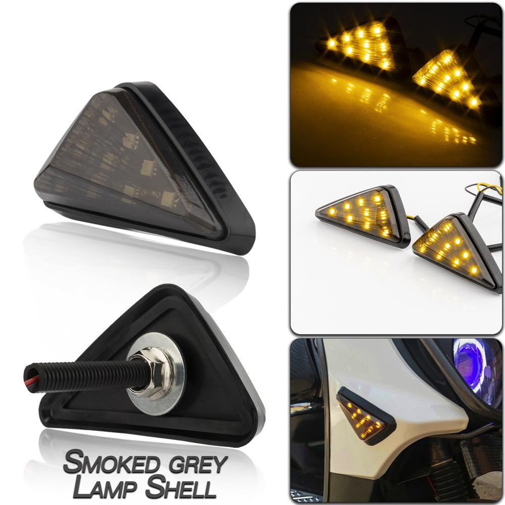Led Motorcycle Turning Signals Light Smoke Triangle Flush Mount Waterproof Easy Installation Turn Signal Smoked gray lamp shell/yellow