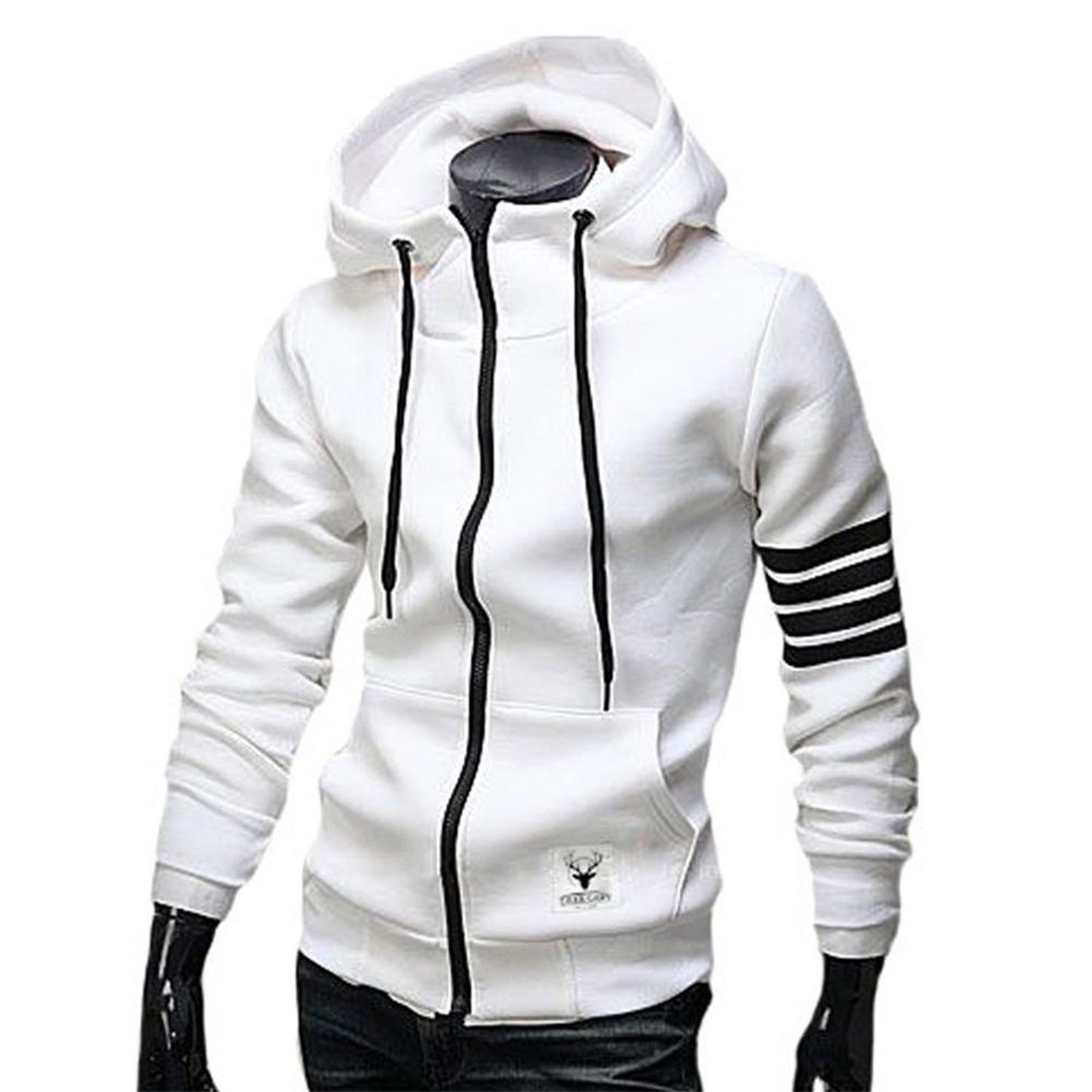 Men Women Fashion Hooded Shirts Stripes Pattern Long Sleeve Slim Coats  white_XL
