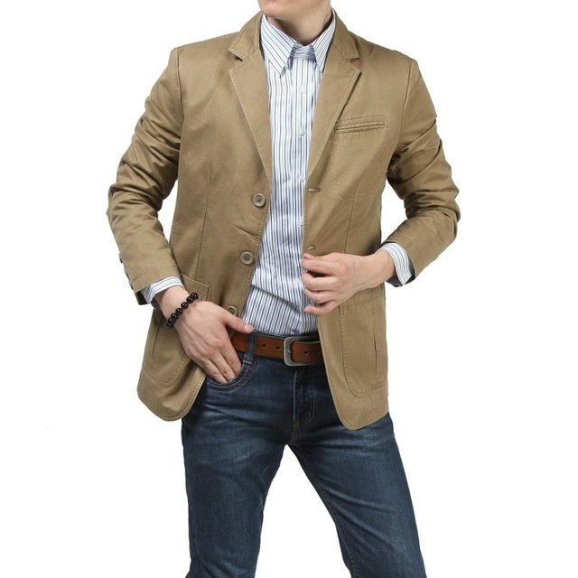 [Indonesia Direct] 100% Nature Cotton Blazer Men Slim Fit Original Brand NianJeep New 2018 Spring and Autumn Casual  Mens Jacket Size 4xl Blazers