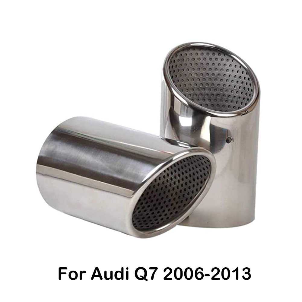 2pcs Stainless Steel Clip-type Exhaust Tail Rear Muffler Tip Pipe Tail Pipe Silencer Silver