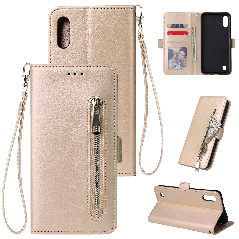 For Samsung A10 Solid Color PU Leather Zipper Wallet Double Buckle Protective Case with Stand & Lanyard gold