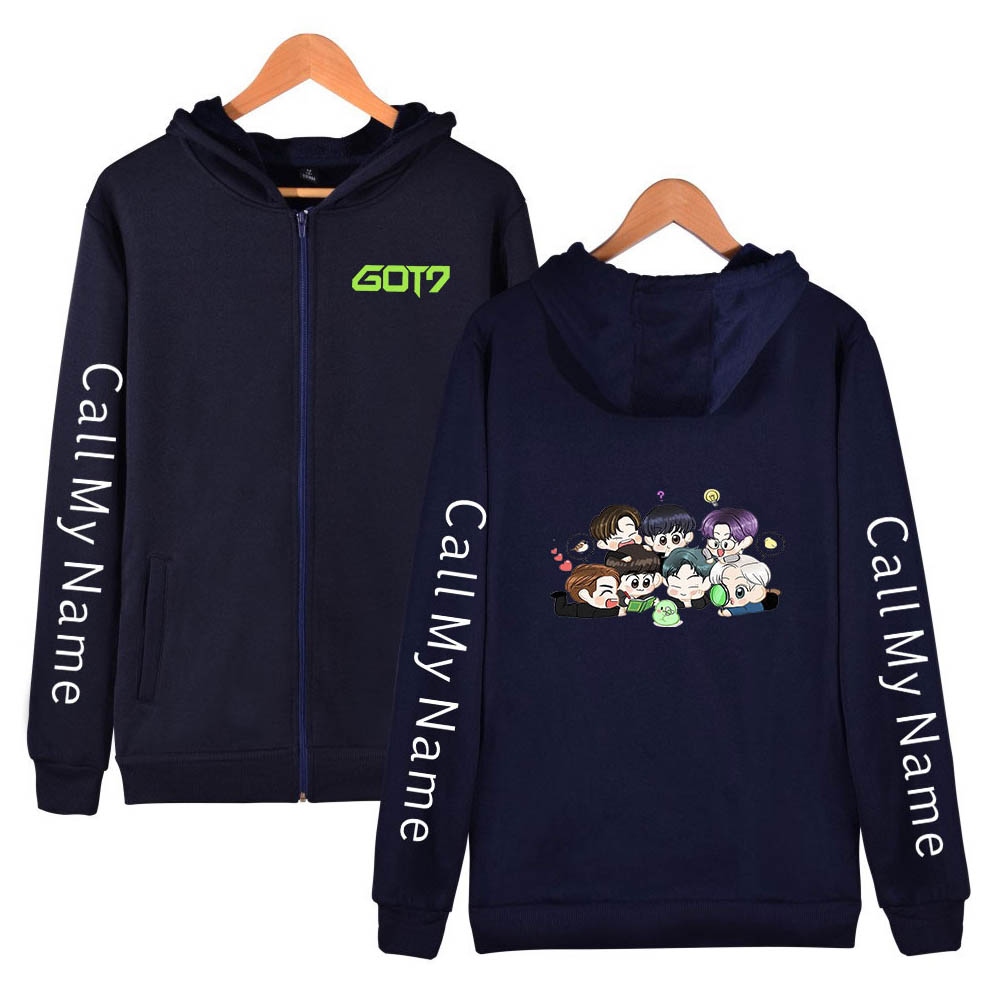 Zippered Casual Hoodie with Cartoon GOT7 Pattern Printed Leisure Top Cardigan for Man and Woman Navy blue D_L
