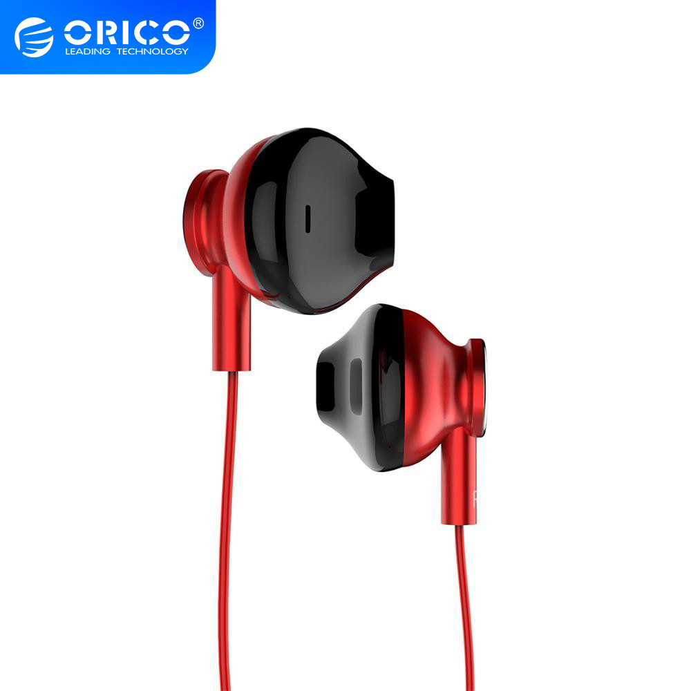 ORICO In-ear Wired Earphone Colorful HiFi Headset Gamer Earbuds Bass Music Gaming Headphones with Mic for Xiaomi Honor iPhone red
