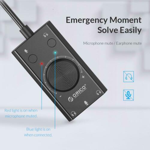 ORICO SC2 External USB Sound Card Volume Adjustable Audio Card PC Laptop Adapter black