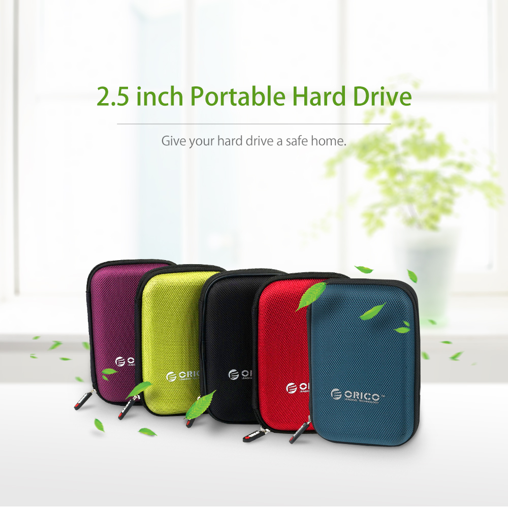 ORICO External Portable HDD Hard Drive Backup Box Case 2.5 Inch Protective Bag red