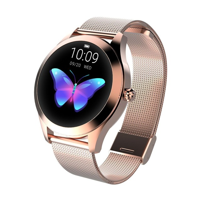 IP68 Waterproof Smart Watch Lovely Women Bracelet Heart Rate Monitor Sleep Monitoring Smartwatch Fitness Wristband Gold dial gold steel strap