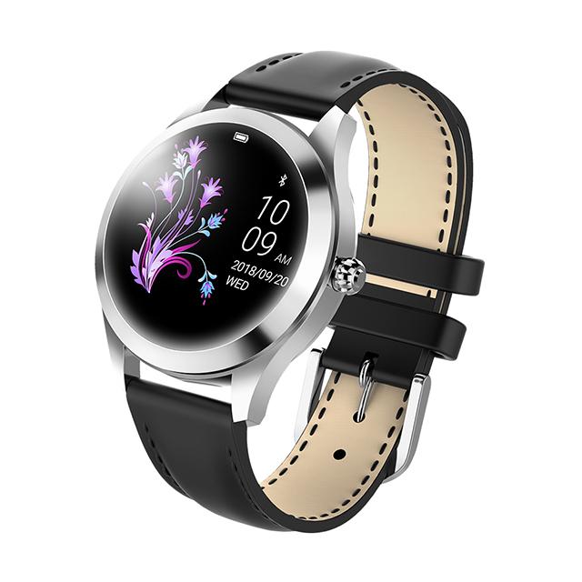 IP68 Waterproof Smart Watch Lovely Women Bracelet Heart Rate Monitor Sleep Monitoring Smartwatch Fitness Wristband Silver dial black strap