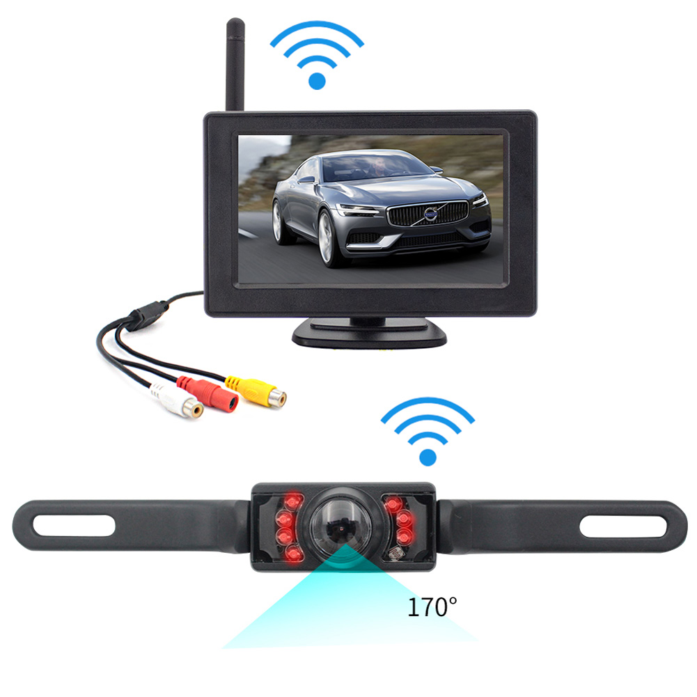 4.3Inches 2.4G Wireless Rear Camera Parking Aid License Plate Frame Move Backward Image System black