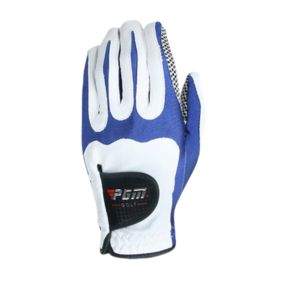 Men Golf Fiber Cloth Gloves Left/Right Hand Glove Magic Elastic Particles Men Slip-resistant Accessories [Left hand] white blue_M