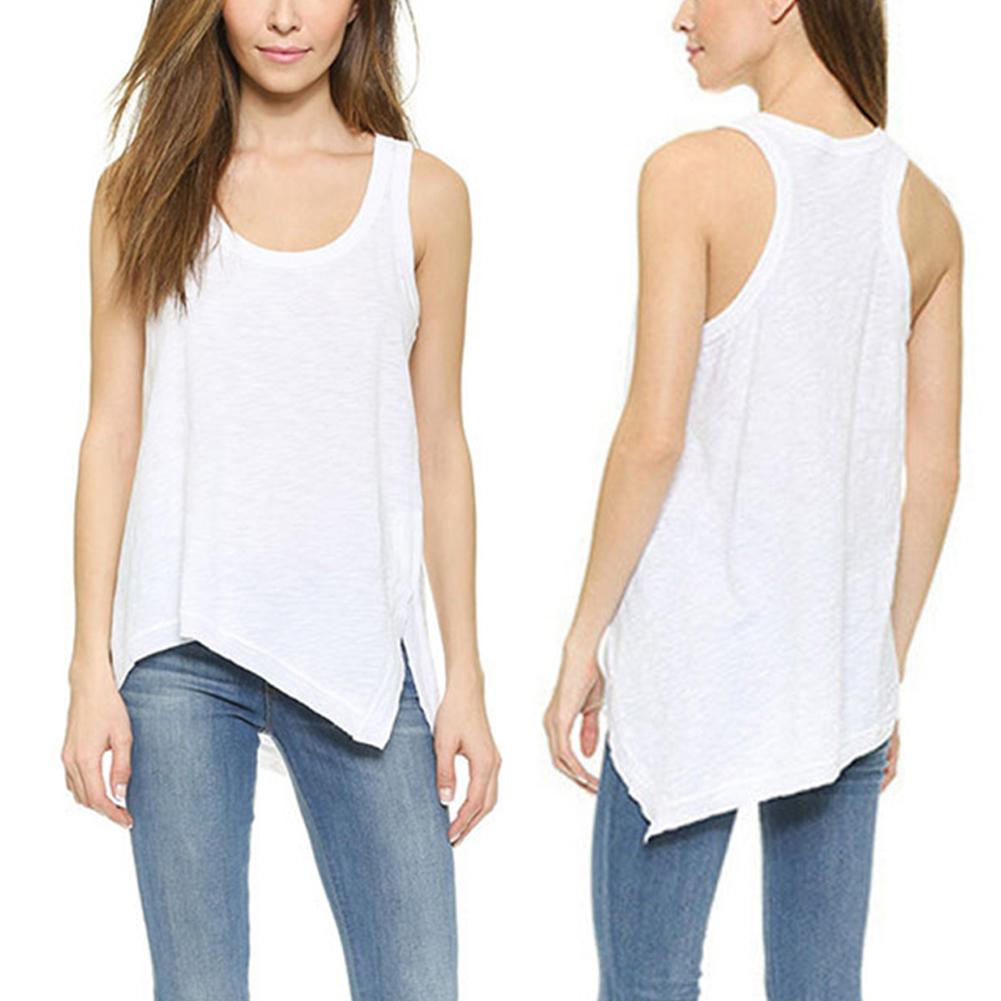 Women Stylish Round Neck Shoulder Vest Camisole with Irregular Lower Hem Sleeveless Tops Gift Beach Home Wear