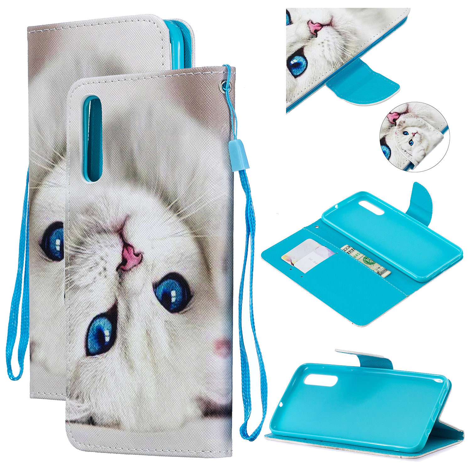 For Samsung A50/A70 Smartphone Case Overall Protective Phone Shell Lovely PU Leather Cellphone Cover with Card Slots  Blue eyes cat