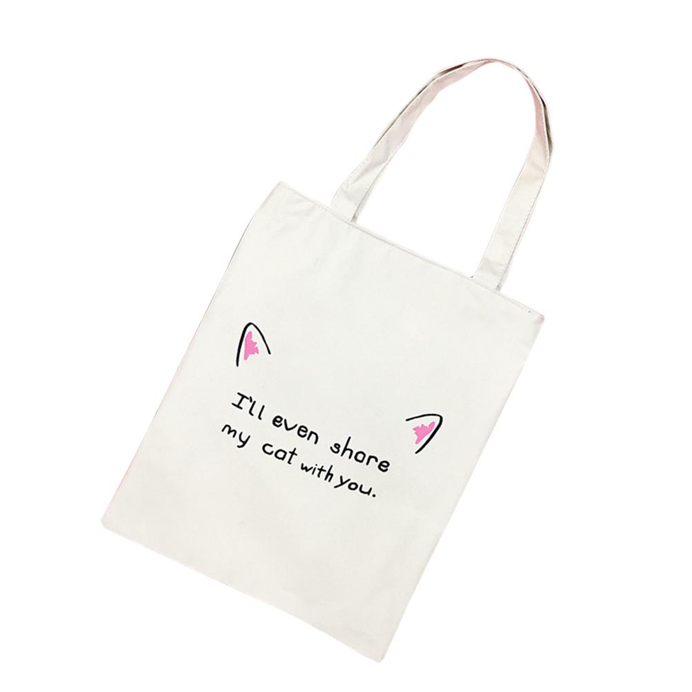 Women Simple Casual Cartoon Canvas Single Shoulder Bag