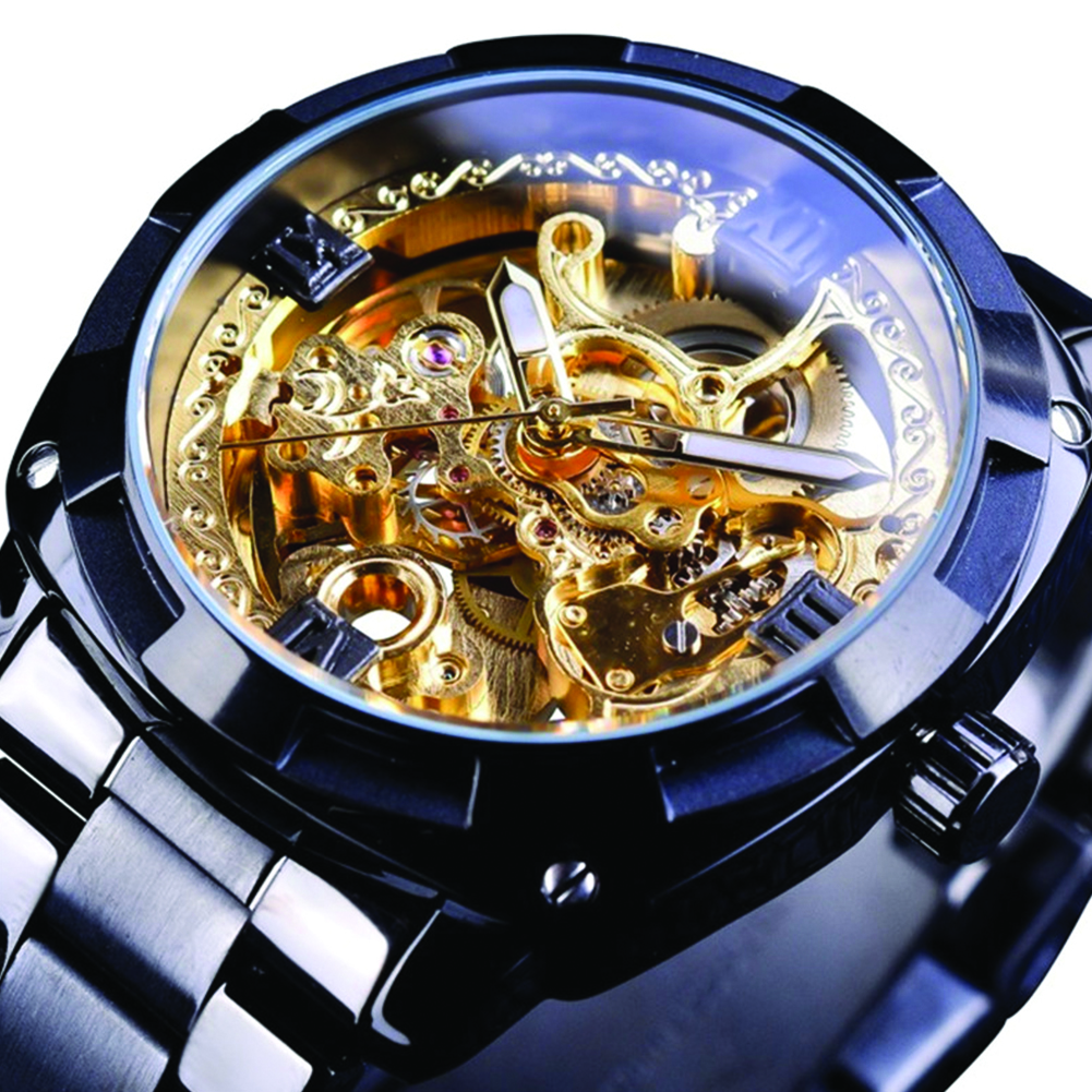 Men Waterproof Automatic Mechanical Watch black