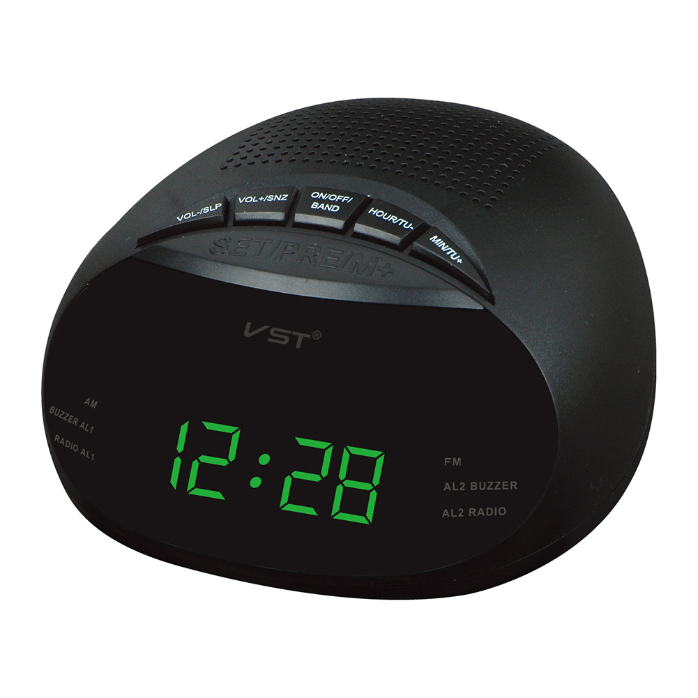 Clock-Controlled LED Alarm Clock with Radio & Snooze Function Gift Decoration European Specification 13.5 * 6.5 * 13.5CM  green