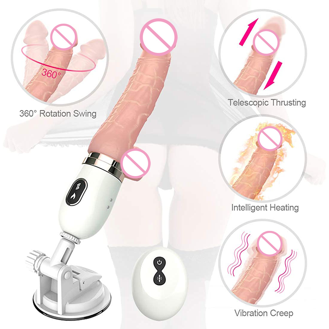 Automatic Thrusting Dildo G Spot Vibrator With Suction Cup Sex Toy For Women Hand-free Sex Fun Vibrator Massage machine MINI model without remote control