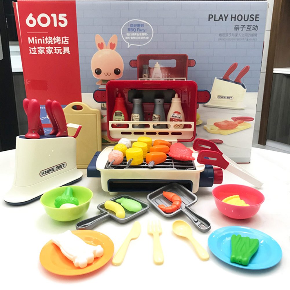 Children  Smart  Spray  Kitchen  Toy Cooking Rice Barbecue Table Picnic Music Set Toy For Kids as picture show