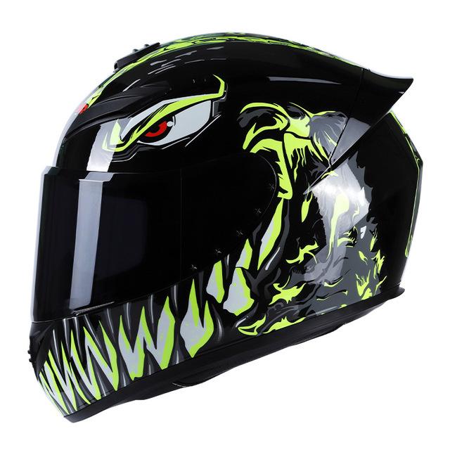 Men Women Motorcycle Helmet Large Tail Full Face Helmet Racing Motorcycle Running Helmet Yellow_M