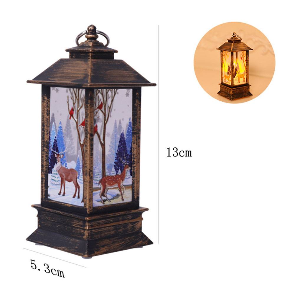 Christmas Wind Light LED Electronic Candle Table Lamp Night Light Santa Snowman Decoration Desktop Ornament Bronze elk