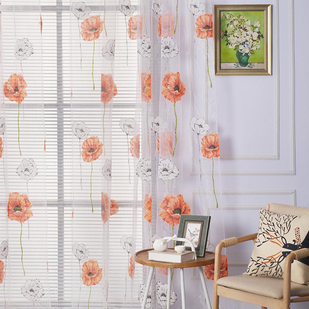 Flower Printing Shading Window Curtains for Modern Living Room Balcony Kitchen Decor Orange_1m wide x 2m high