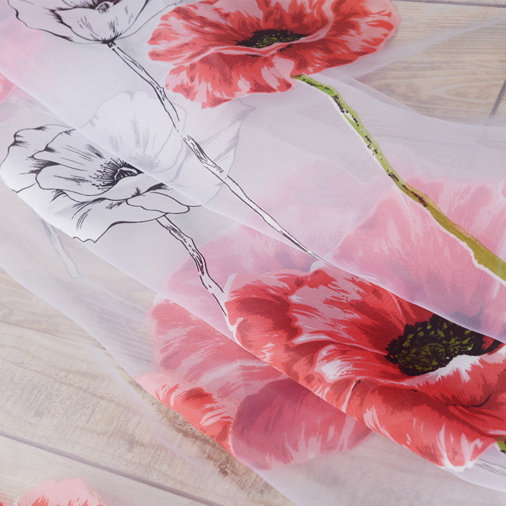 Flower Printing Shading Window Curtains for Modern Living Room Balcony Kitchen Decor red_1m wide x 2m high