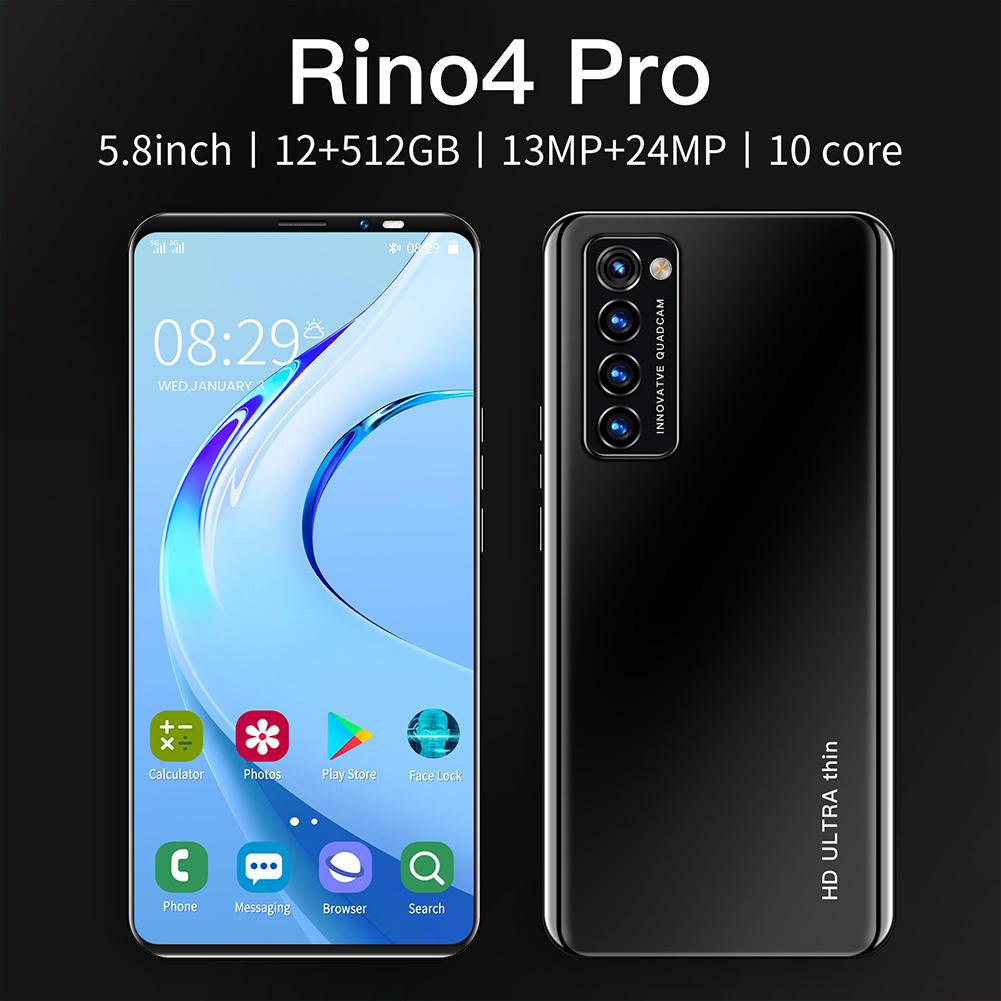 Smart Phone HD+ Full Screen Rino4 Pro 5.8 Inches 512MB RAM+4GB ROM  Facial Recognition Smart  Phone Black (EU Plug)