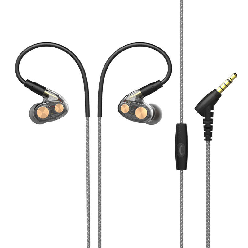 N35 Ring Iron Earphone In-Ear Cable Control Noise Reduction HiFi Super Bass Headset Mobile Phone Universal black