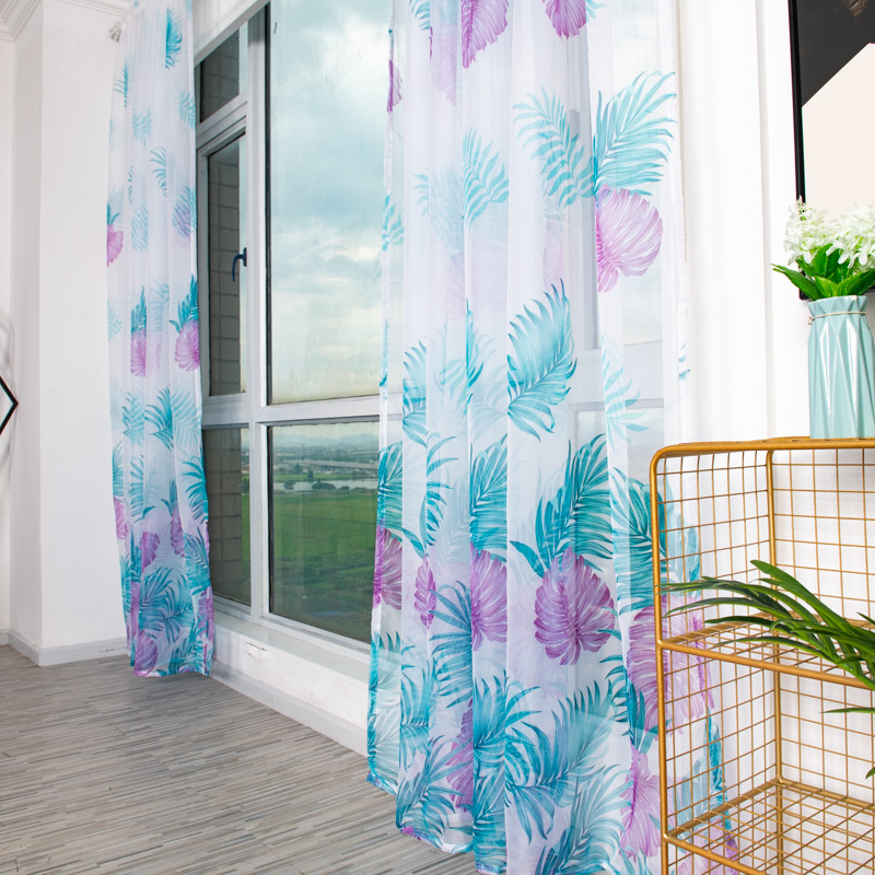 Anti-mosquito Drapes Banana Leaf Printing Tulle Curtain for Living Room Bedroom Window Decoration 100*200cm Purple_1m wide x 2m high