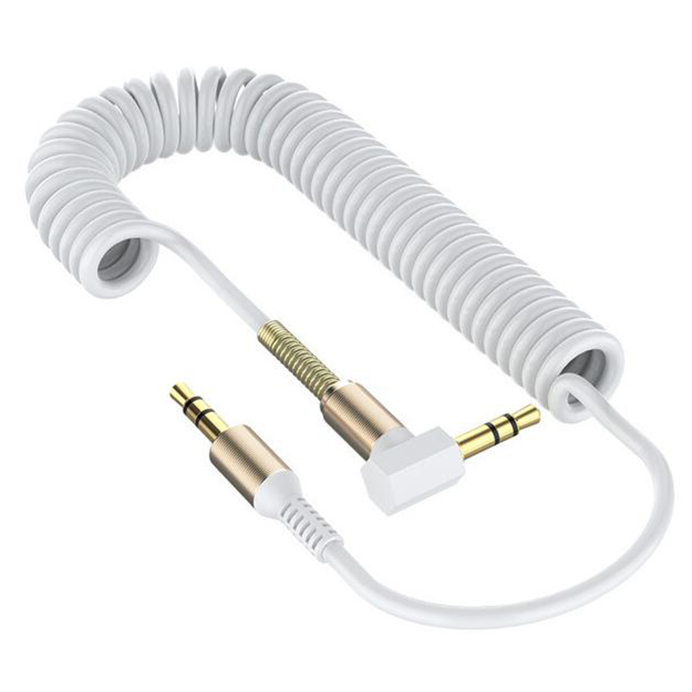 3.5 Spring Recording Line 3.5mm Audio Elbow Recording Cable Male To Male Telescopic Car Audio Line white