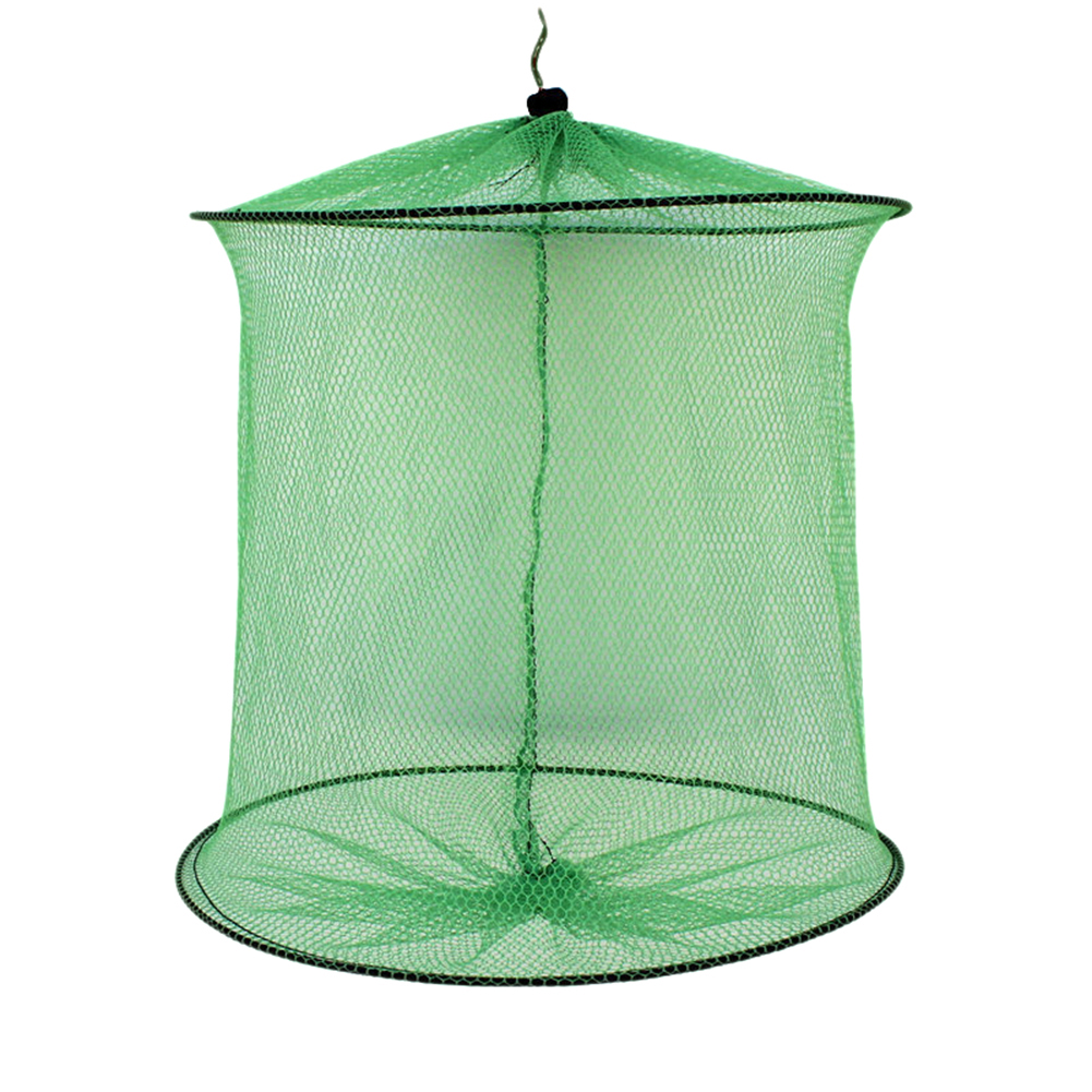 Folding Round Metal Frame Nylon Mesh Bait Trap Cast Fish Net Fishing Landing Tackle Accessory Tool 2 hoops 29*35