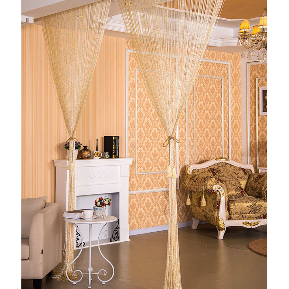 1 * 2M Shiny Tassel Flash Line String Curtain Window Door Divider Sheer Curtain Valance Home Wedding Decoration (Rod Pocket Version) Beige