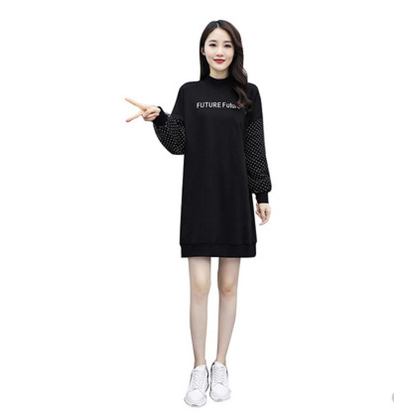 Women Spring Autumn Dress Letter Printing Half High Collar Long Sleeve Loose Waist Dress black_L