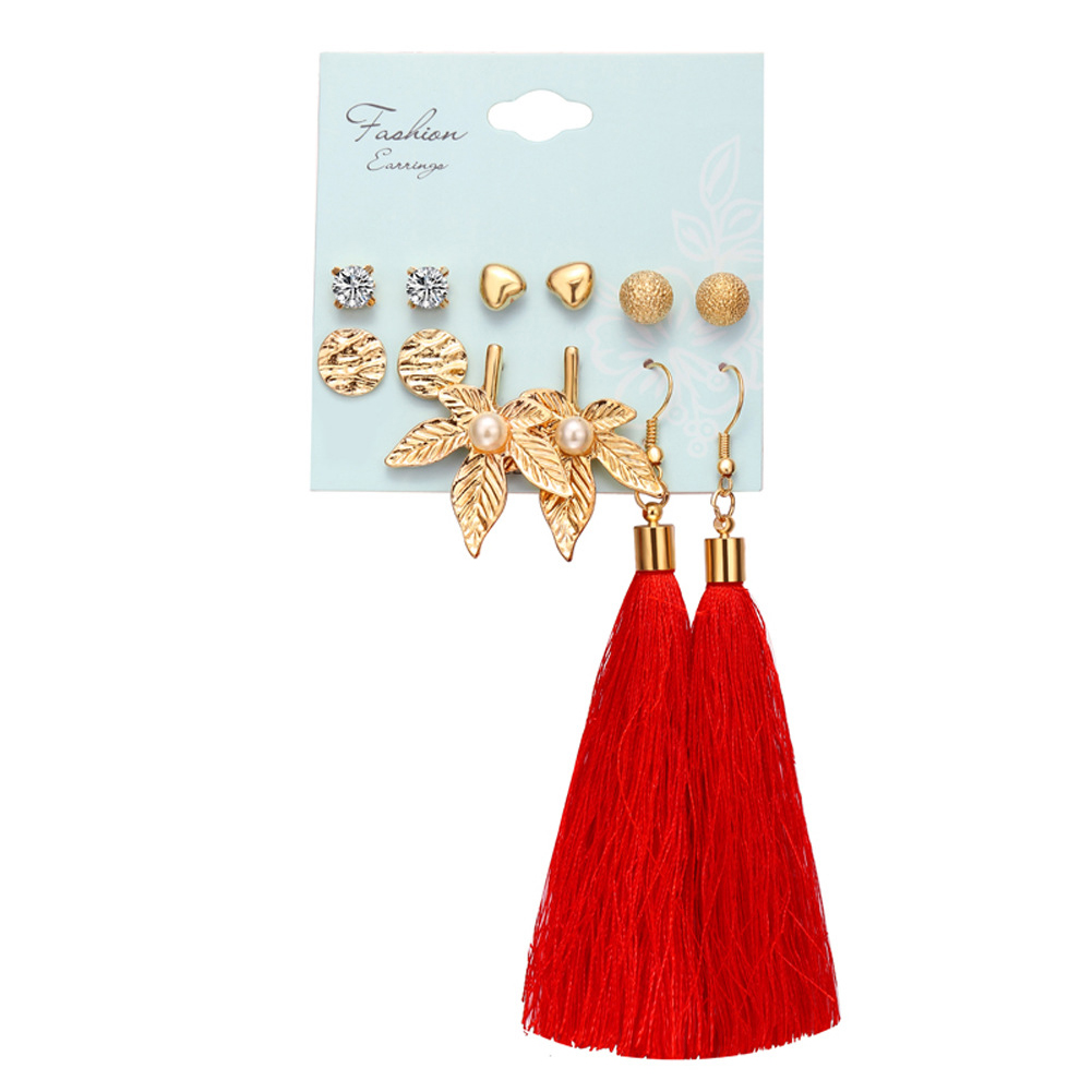 6 pairs Women Fashionable Bohemian Tassels Romantic Earrings Flower Pattern Earrings F1636