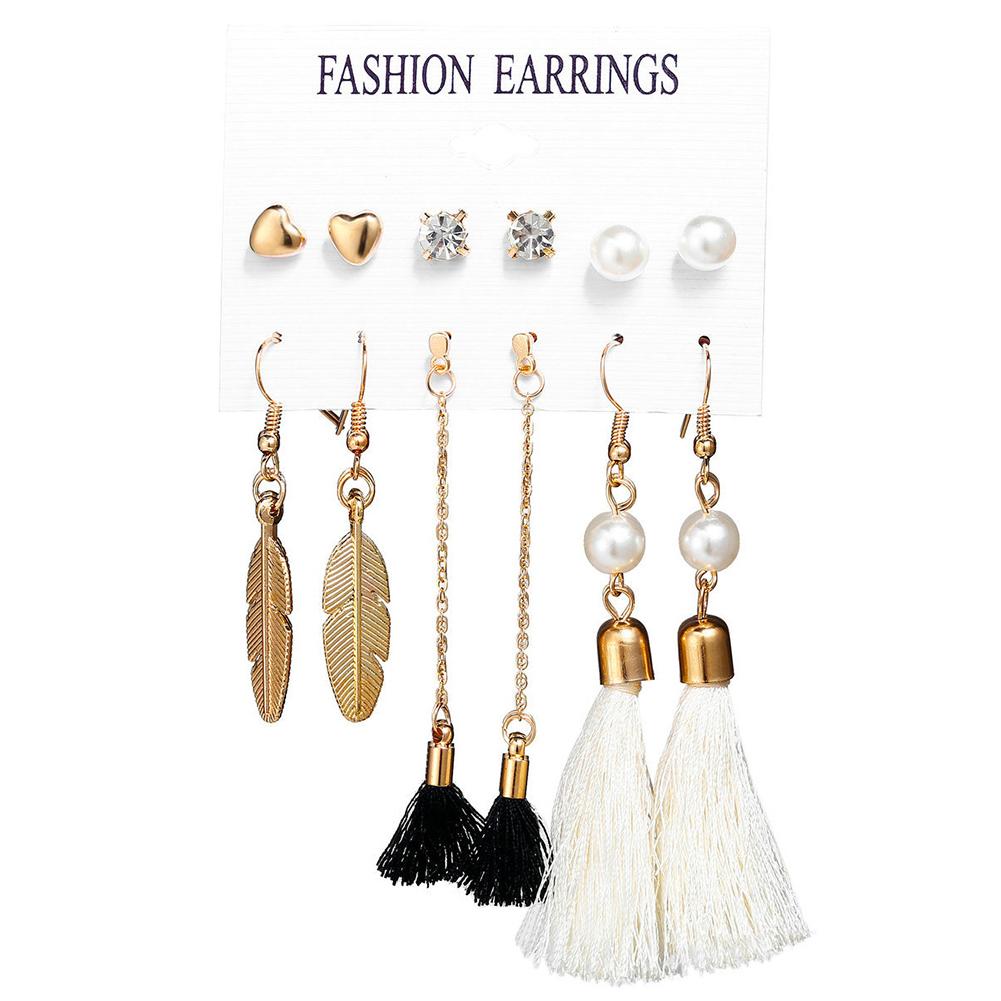 6 pairs Women Fashionable Bohemian Tassels Romantic Earrings Flower Pattern Earrings F1679