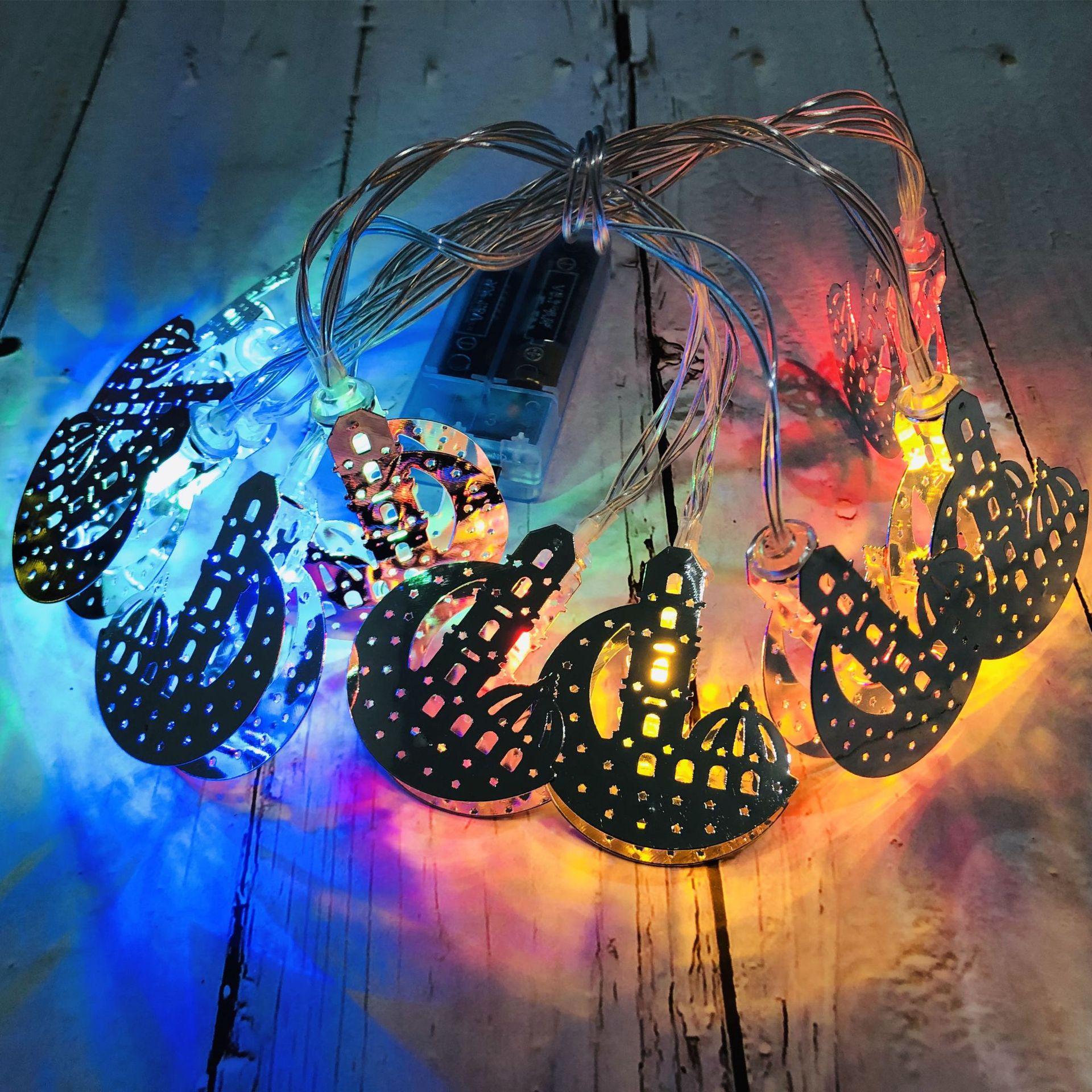 Eid Mubarak LED Wrought Iron Moon Castle Light String Ramadan Festival Garden Holiday Party Decoration Silver Moon Castle-Four Colors