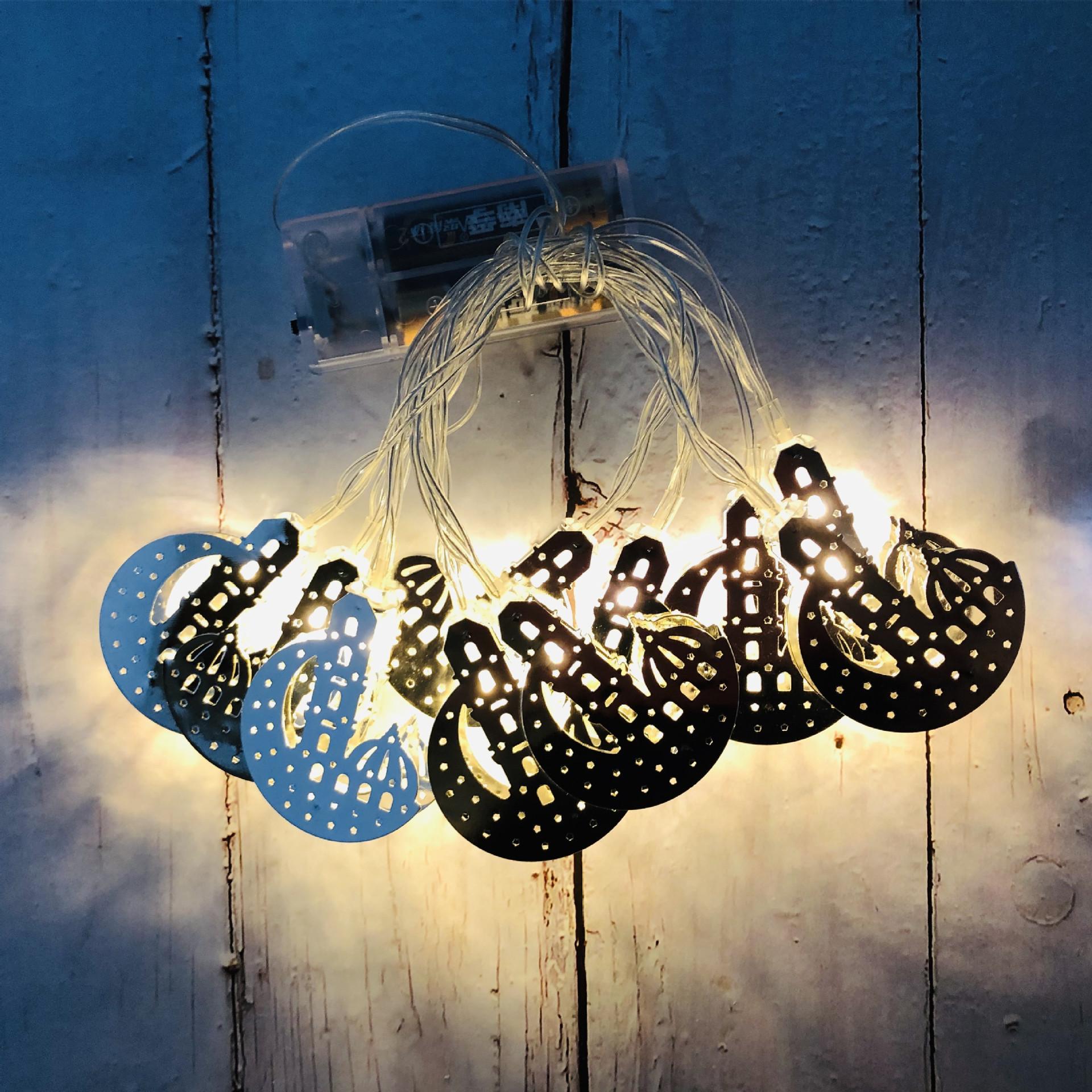Eid Mubarak LED Wrought Iron Moon Castle Light String Ramadan Festival Garden Holiday Party Decoration Silver Moon Castle-Warm White