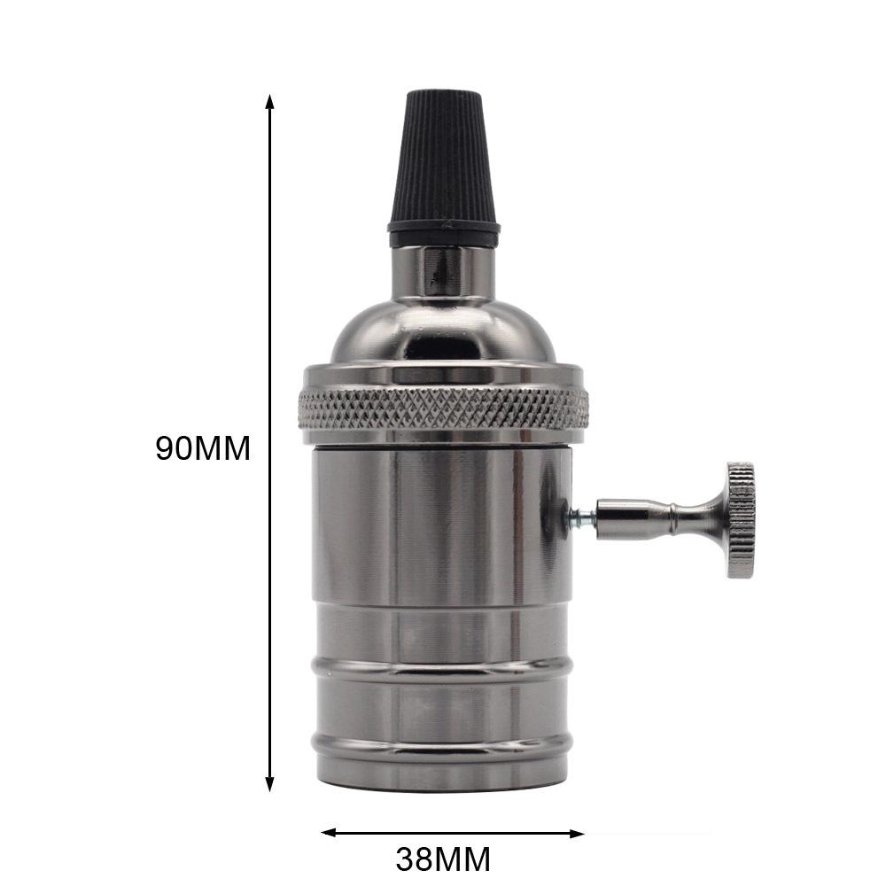 E27 Retro Style Aluminum Edison Lamp Holder with Switch for Decor Pearl black