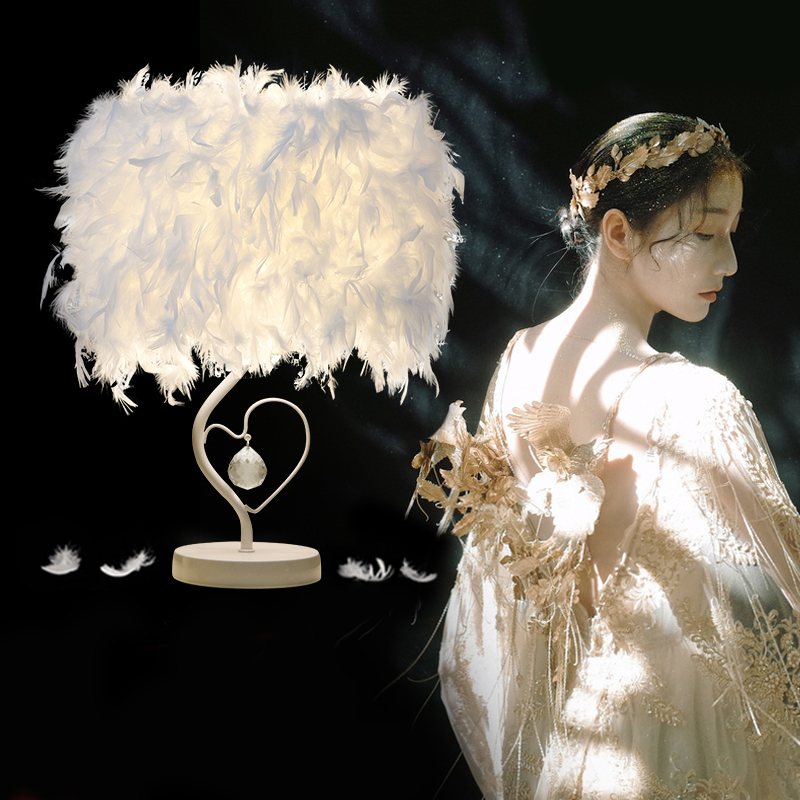 3W LED White Feather Heart Shape Crystal Table Lamp for Bedside Reading Room Sitting Room