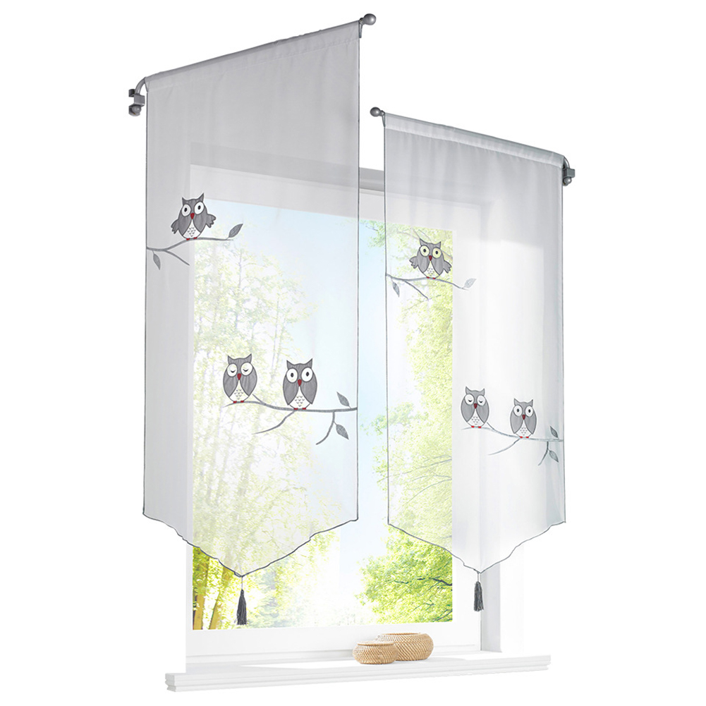 Pastoral Style Owl /Butterflies Pattern Triangular Short Curtains for Window Owl embroidered_40*90cm