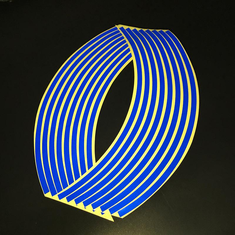 Motorcycle 18 - inch Reflective Wheel Sticker Wheel Ring Sticker Hub Tire Reflector Sticker Decoration blue