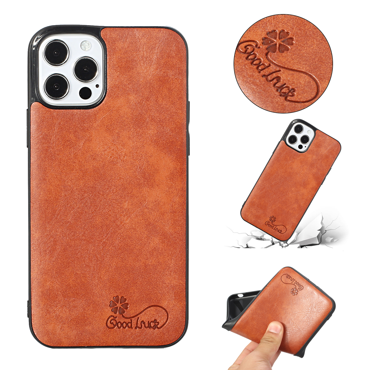 For Iphone 11 Pro Max Mobile Phone Cover Pu Waxed Leather Protective Case Light brown