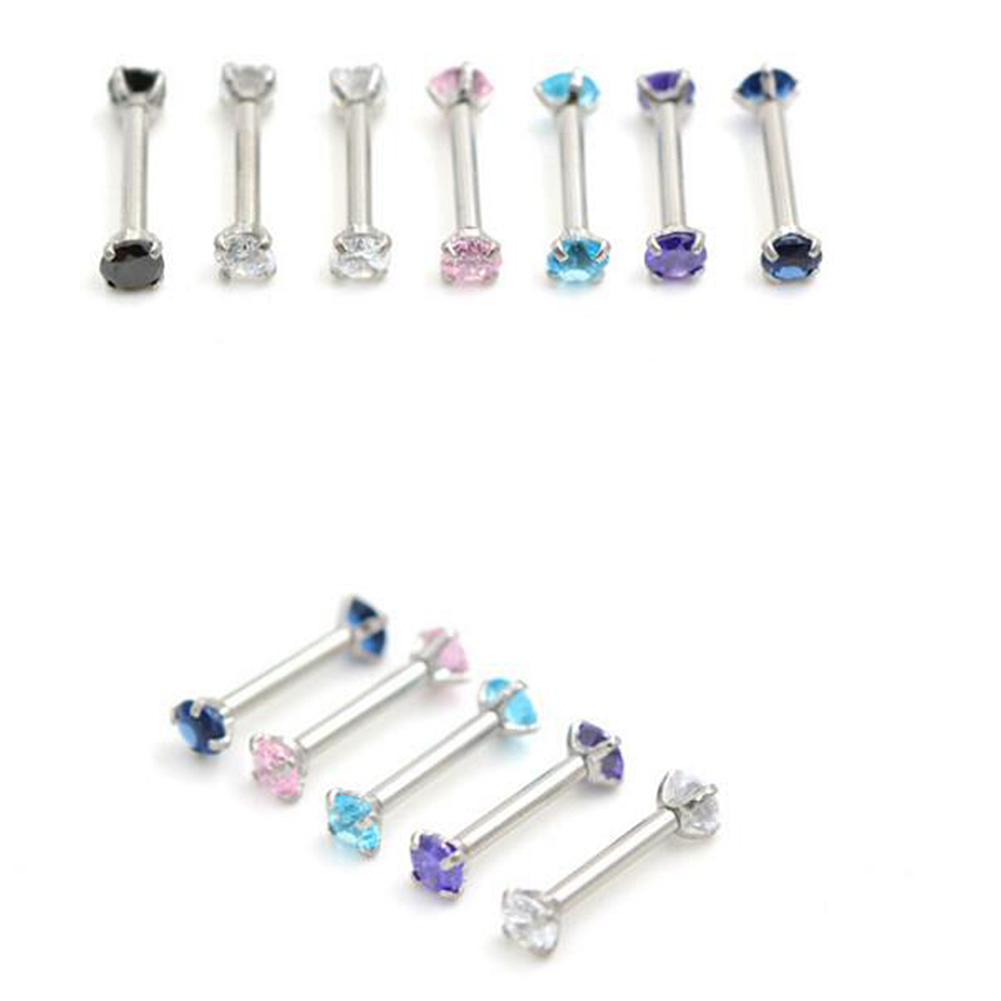 Circular Zircon Ear Studs Eyebrow Ring Stainless Steel Straight Body Piercings Jewelry purple