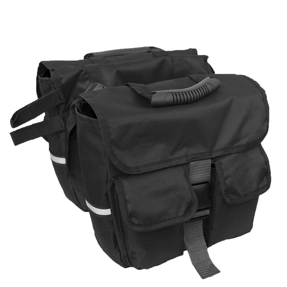 Mountain Bicycle Carrier Bag Rear Rack Trunk Bike Luggage Back Seat Pannier Cycling Saddle Storage Bags Black + black edging_12 x 4 x 11inches