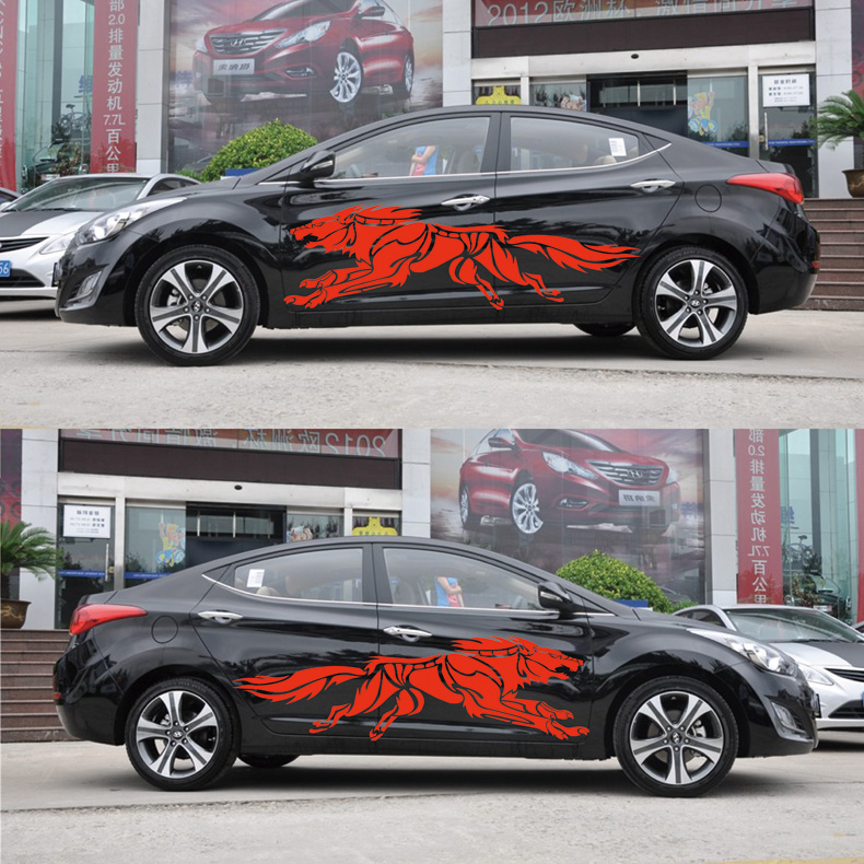 3D Wolf Totem Decals Car Stickers Full Body Car Styling Vinyl Decal Sticker for Cars Decoration red