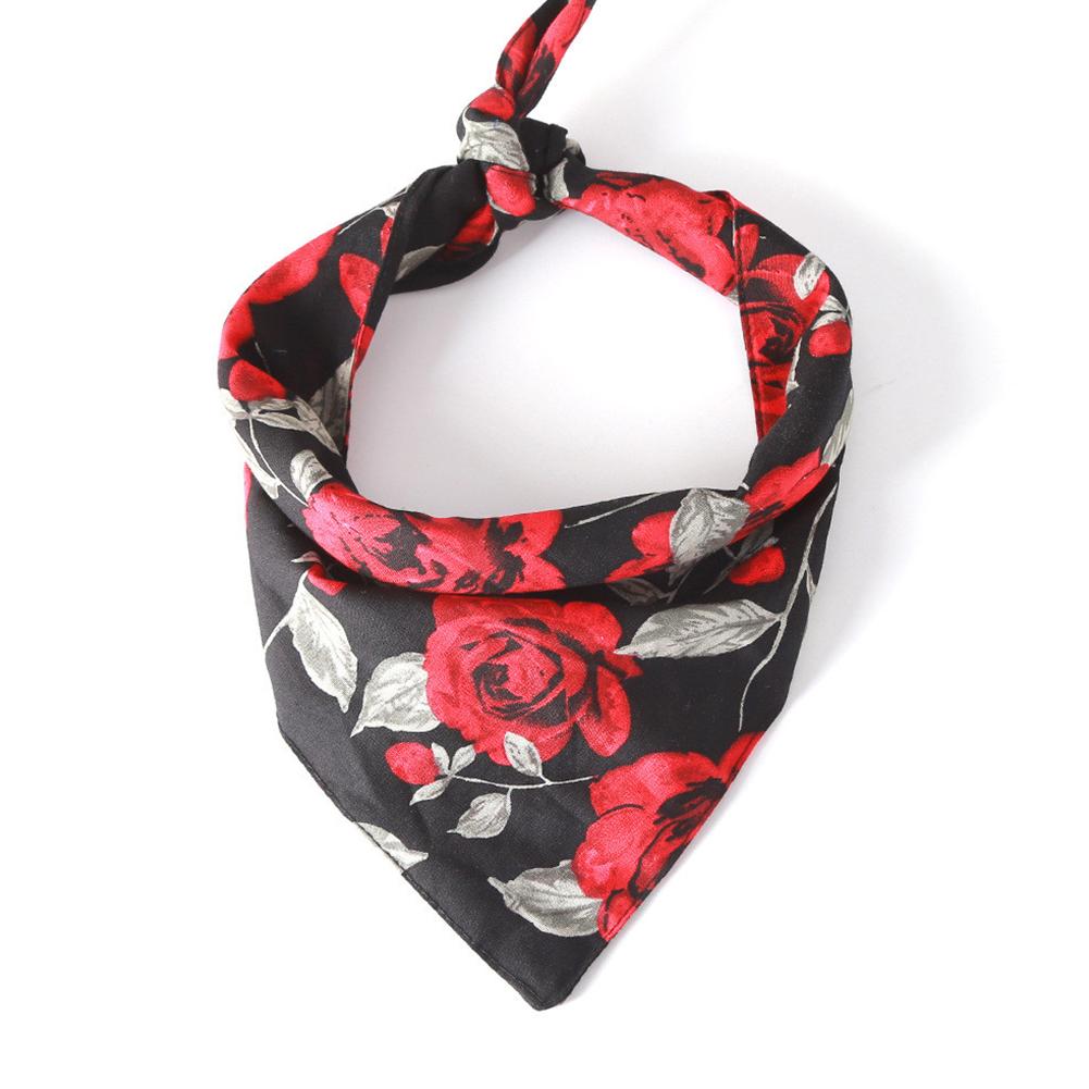 Pet Rose Printing Collar Tie Strap Cotton Scarf Saliva Towel for Cat Dog Wear Black_Neck circumference 25~48CM