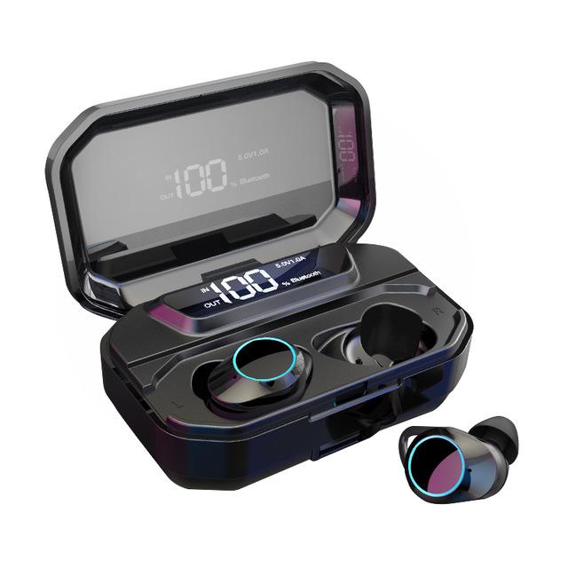 G02 TWS 5.0 Bluetooth 9D Stereo Earphone Wireless Earphones IPX7 Waterproof Earphones 3300mAh LED Smart Power Bank Case As shown