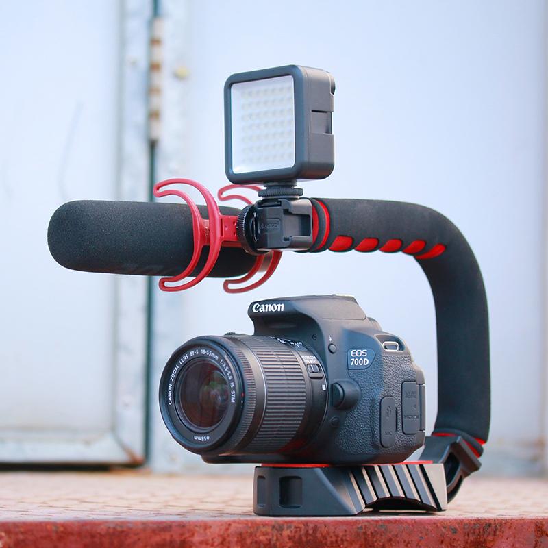 Ulanzi Handheld Pro Video Stabilizer U Shape Rig Triple Hot Shoe Handle Grip for Gopro 7 6  Black red