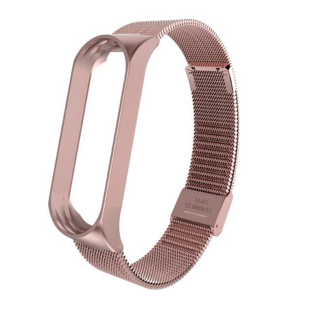 Mi Band 3 Wrist Strap Metal Screwless Stainless Steel for Xiaomi Mi Band 3 Strap Bracelet Miband 3 Wristbands Pulseira Miband3 Rose pink